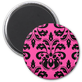 Hot pink and black pretty victorian damask 2 inch round magnet