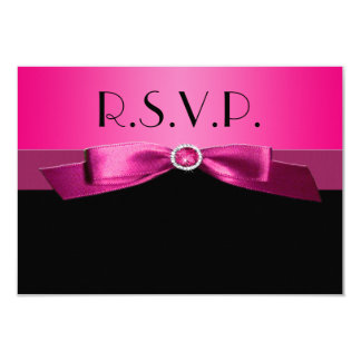 Hot Pink and Black Reply Card