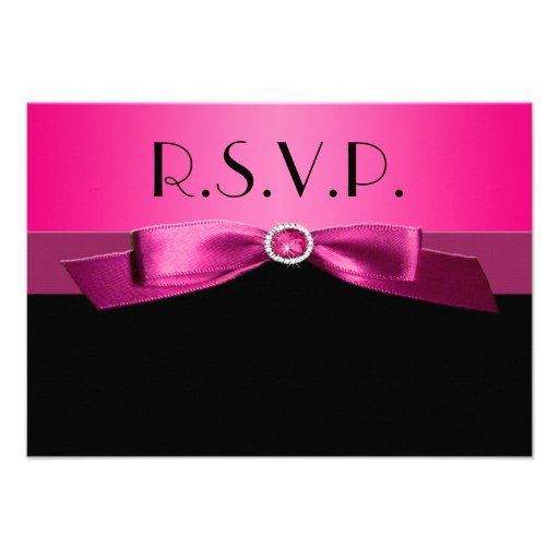 Hot Pink and Black Reply Card Invitation