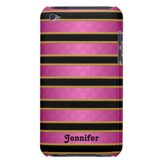 Hot Pink and Black Ribbons Stripes Personalized iPod Touch Case-Mate Case