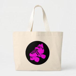 Hot Pink and Black Roller Skate Design Apparel Tote Bag