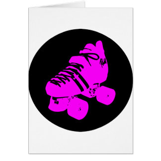 Hot Pink and Black Roller Skate Design Apparel Greeting Card