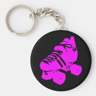Hot Pink and Black Roller Skate Design Apparel Key Chains