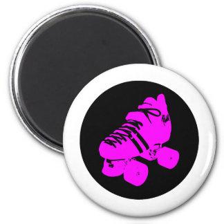 Hot Pink and Black Roller Skate Design Apparel Magnets
