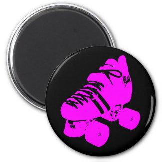 Hot Pink and Black Roller Skate Design Apparel Fridge Magnet