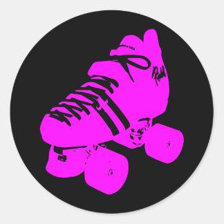 Hot Pink and Black Roller Skate Design Apparel Sticker