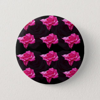 Hot Pink And Black Rose Layer Pattern, Button
