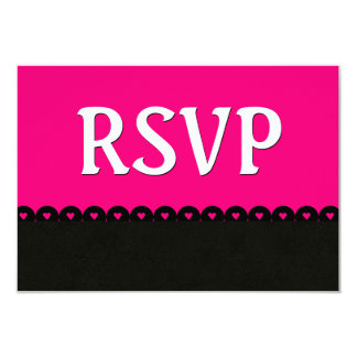 Hot Pink and Black RSVP Hearts Scalloped Lace V5E5 Card