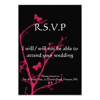"""hot pink and black rsvp 3.5"""" x 5"""" invitation card"""