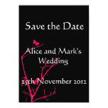 """hot pink and black save the date card 4.5"""" x 6.25"""" invitation card"""