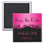Hot Pink and Black Save the Date Magnet