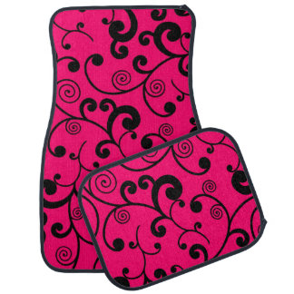Hot Pink and Black Scroll Pattern Car Floor Mat