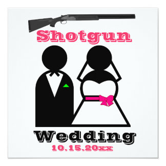 Hot Pink and Black Shotgun Wedding Invitations