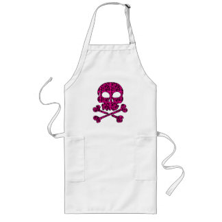 Hot Pink and Black Skulls for Halloween Long Apron