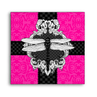 Hot Pink and Black Square Dragonfly Envelopes