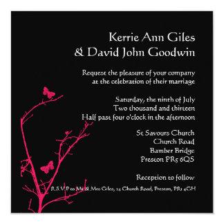 "hot pink and black square wedding invitation 5.25"" square invitation card"