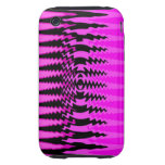 Hot Pink and Black Squiggly Zigzag Design iPhone 3 Tough Covers