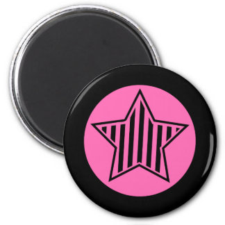 Hot Pink and Black Star Round Magnet