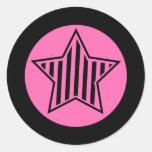 Hot Pink and Black Star Round Sticker