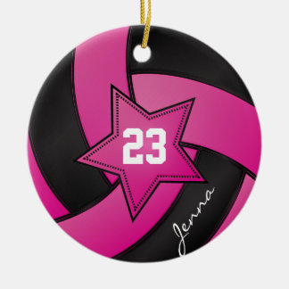 Hot Pink and Black Star Volleyball Ceramic Ornament