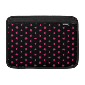 "Hot Pink and Black Stars 11"" MacBook Sleeve"