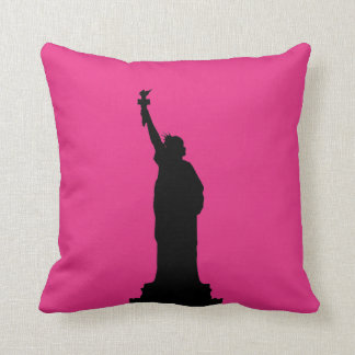 Hot Pink and Black Statue of Liberty Pillow