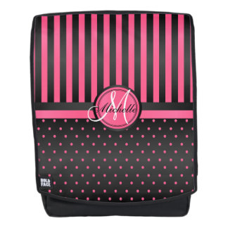 Hot Pink and Black Stripe Polka Dots Backpack
