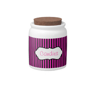 Hot Pink and Black Striped Candy Jar