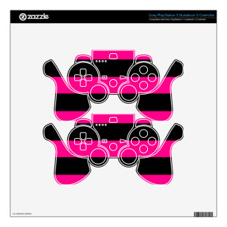 Hot Pink and Black Stripes Decal For PS3 Controller