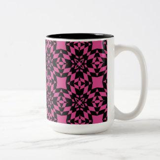 Hot Pink and Black Sunburst Two-Tone Coffee Mug