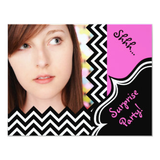 Hot Pink and Black Surprise 21st Birthday Party Card