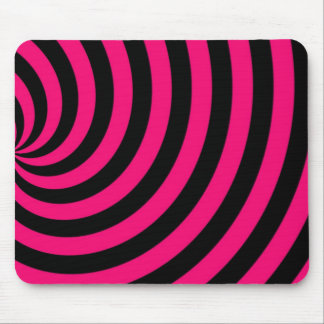 Hot Pink and Black Swirly Stipes Mouse Pad