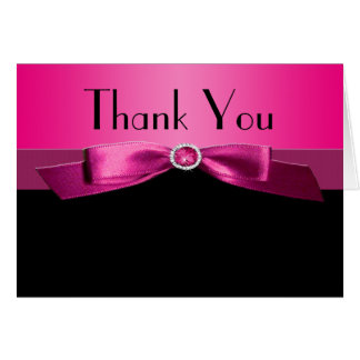 Hot Pink and Black Thank You Note Card Greeting Card