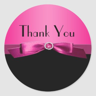 Hot PInk and Black Thank You Sticker sticker
