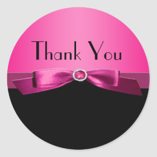 Hot PInk and Black Thank You Sticker