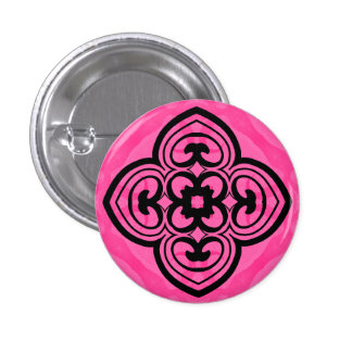 Hot pink and black victorian kaleidoscope decor 1 inch round button