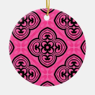 Hot pink and black victorian kaleidoscope decor ceramic ornament