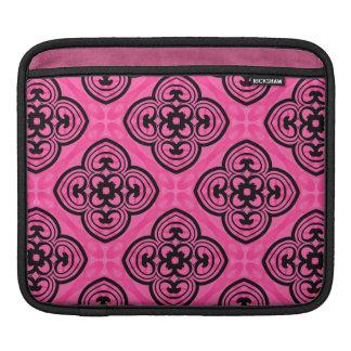 Hot pink and black victorian kaleidoscope decor iPad sleeve