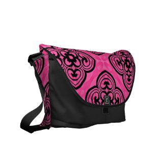 Hot pink and black victorian kaleidoscope decor messenger bag
