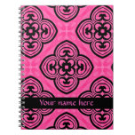Hot pink and black victorian kaleidoscope decor spiral note books