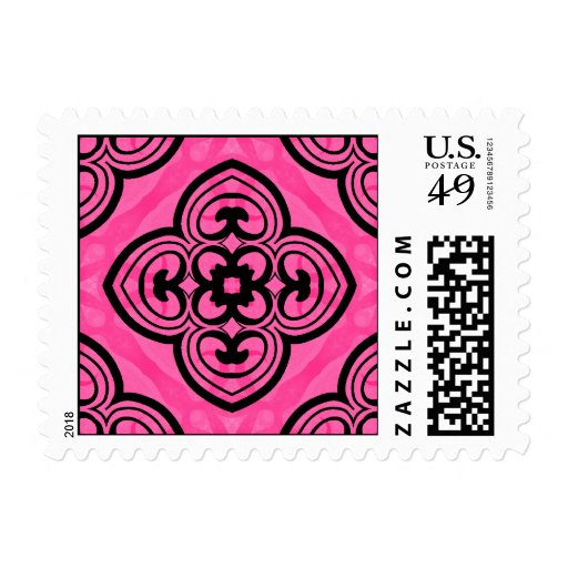 Hot pink and black victorian kaleidoscope decor stamp