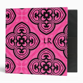 Hot pink and black victorian kaleidoscope monogram binders