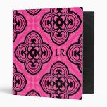 Hot pink and black victorian kaleidoscope monogram 3 ring binder