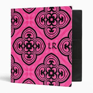Hot pink and black victorian kaleidoscope monogram vinyl binder