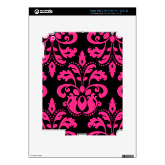 Hot pink and black vintage victorian damask decals for iPad 3