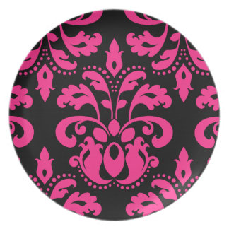 Hot pink and black vintage victorian damask party plates