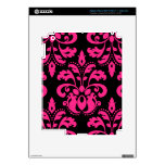 Hot pink and black vintage victorian damask iPad 3 decal