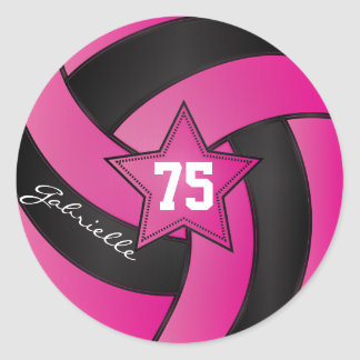 Hot Pink and Black Volleyball | DIY Text Classic Round Sticker