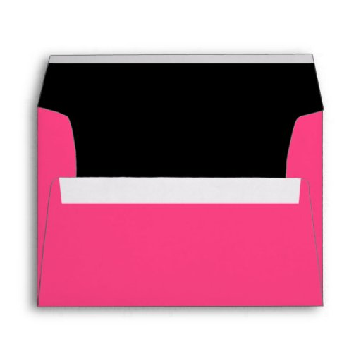 Hot Pink and Black Wedding A7 Envelopes