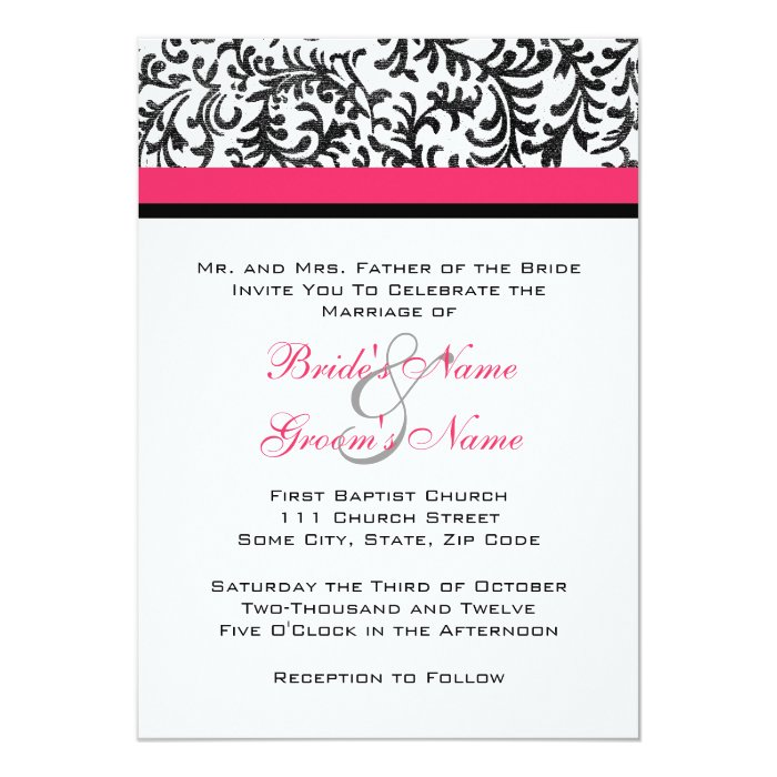 fuchsia and black wedding invitations - 28 images - pink and black ...